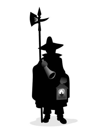 halberd: night watchman with typical uniform, halberd and lantern