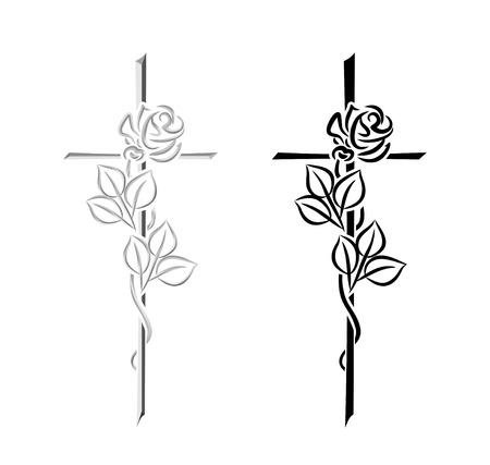 obituary: decorative elements for condolence, obituary or funeral