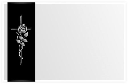 luto: elementos decorativos para el pésame, obituario o un funeral Foto de archivo