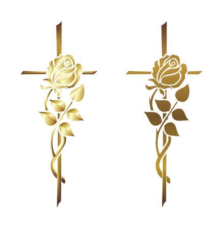 memorial cross: elementos decorativos para el pésame, obituario o un funeral Foto de archivo