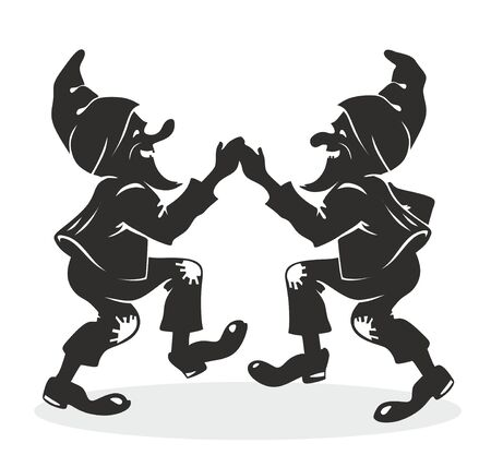 luck charms: three little dwarfs marching with luck charms Stock Photo