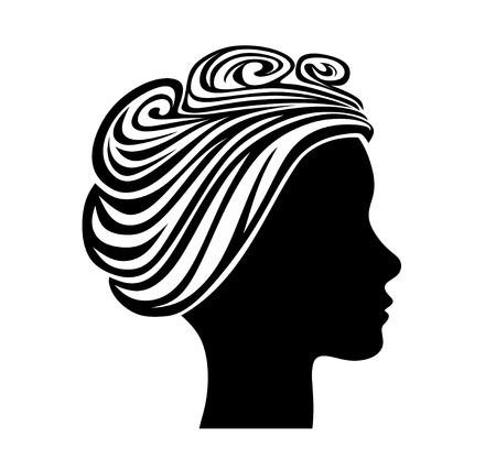 cabeza femenina: silueta de la cabeza femenina con el pelo de estilo