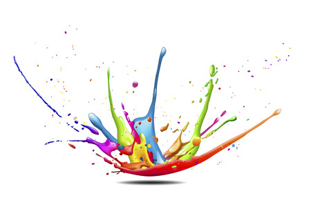 a big abstract splash of colorful paint