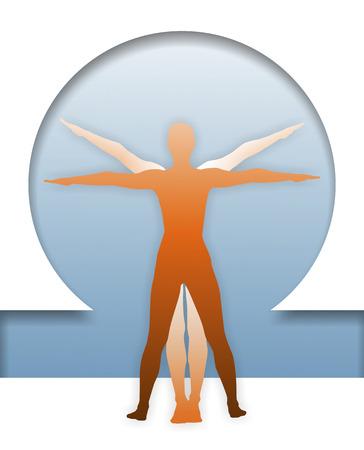 uomo vitruviano: classica figura per visualizzare le proporzioni del corpo umano