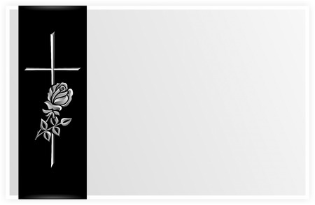 obituary: obituary template with rose and cross on black ribbon
