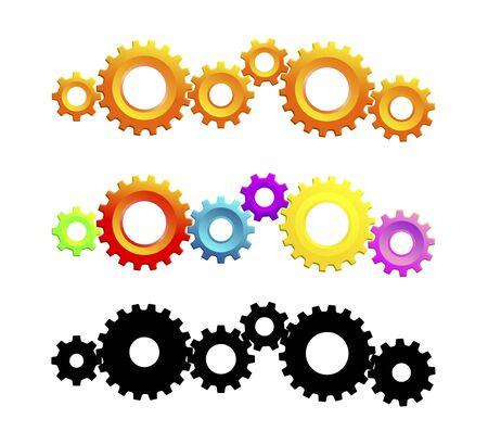 rack wheel: colorful gear wheels as a design template