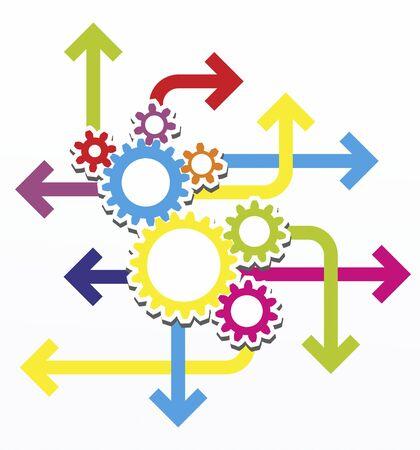 rack wheel: colorful gear wheels as a design template