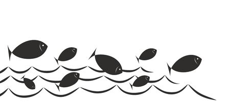 symbols  metaphors: simplified sign with fish for fish trade