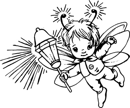 firefly: illustration of a little firefly with lantern
