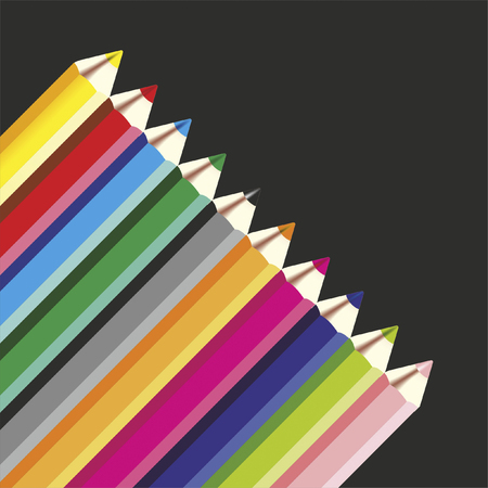 arranged: colored pencil neatly arranged as a background Stock Photo