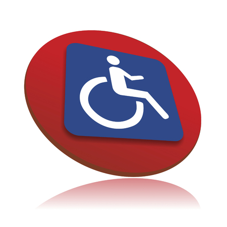 wheelchair access: three-dimensional sign for facilities with wheelchair access Stock Photo