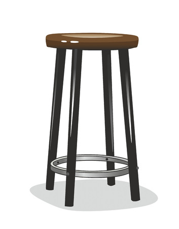 stool: simplified illustration of a bar stool with wooden seat Stock Photo