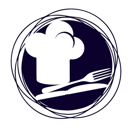 toque: simplified sign with cutlery and a toque Stock Photo