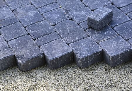cobbles: picture of recently installed cobbles on a driveway
