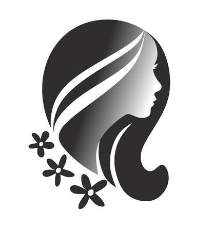 cabeza femenina: cabeza femenina decorativa como plantilla de dise�o Foto de archivo