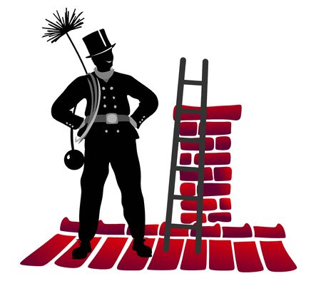 sweeper: chimney sweeper at work with ladder on roof Stock Photo