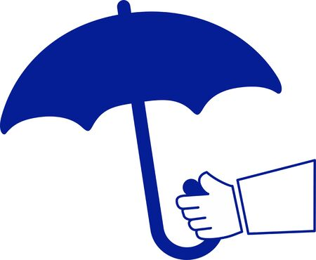 simplified: simplified illustration of an arm with umbrella Stock Photo