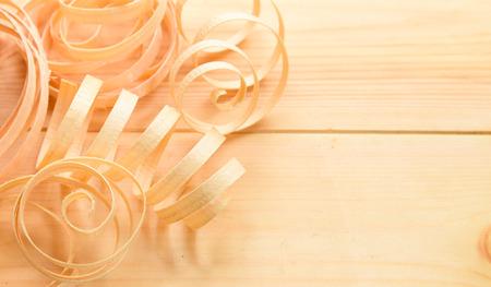 woodwork: shavings from recent woodwork on wooden floor