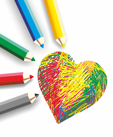 many colored: many colored pencils as a creative background Stock Photo