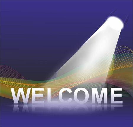 symbols  metaphors: a bright spotlight illuminating big welcome letter