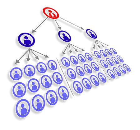 een schematische weergave van de manager en het personeel Stockfoto
