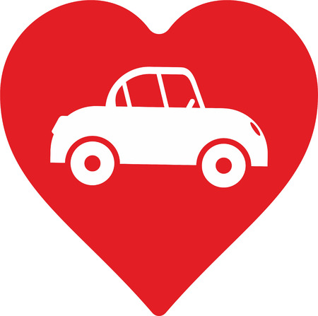 symbols  metaphors: abstract car with heart as decorative element