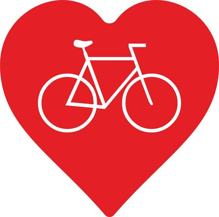 signet: abstract bicycle with heart as decorative element