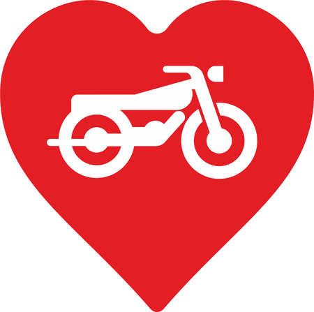 love icon: abstract motorcycle with heart as decorative element