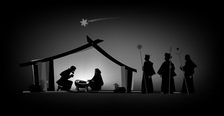 vespers: nativity play with silhouettes and baby jesus Stock Photo