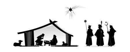 キリスト降誕のシルエットで遊ぶし、赤ちゃんのイエス 写真素材