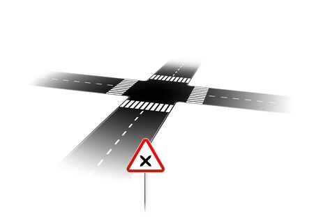 dangerous road: dangerous road junction with a warning sign