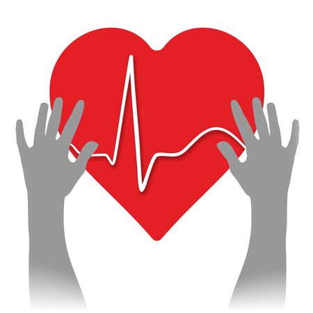cardioid: corazón con cardioide médica y dos manos
