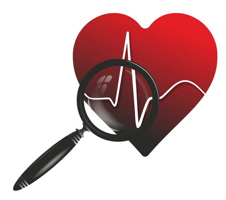 cardioid: medical symbol with heart, cardioid and magnifier Foto de archivo