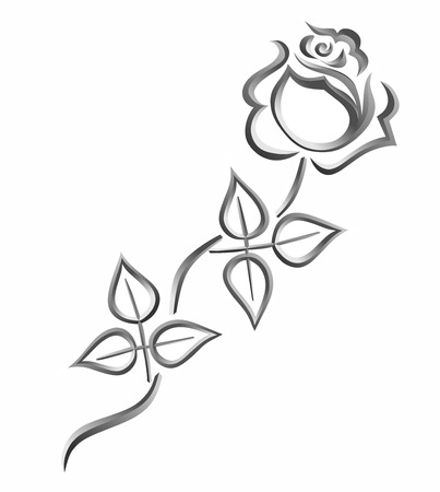 stylized rose for obituary or tomb stone Stock Photo