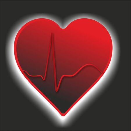 cardioid: símbolo médico con el corazón, cardioide y brillo