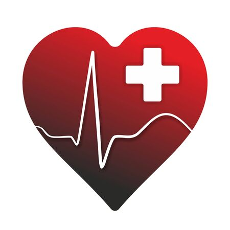 cardioid: medical symbol with heart, cardioid and cross