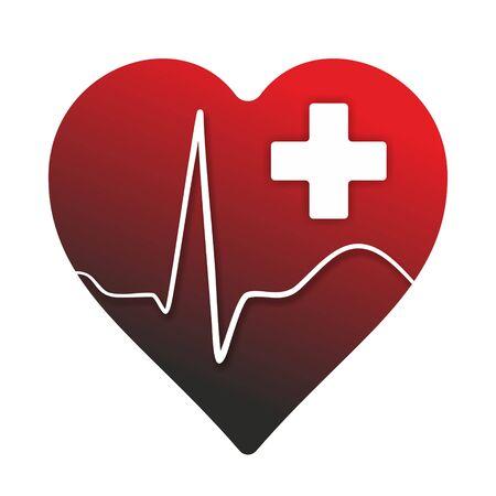 cardioid: símbolo médico con el corazón, cardioide y cruz