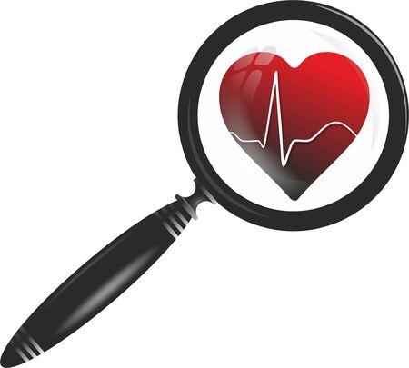 cardioid: símbolo médico con el corazón, cardioide y lupa