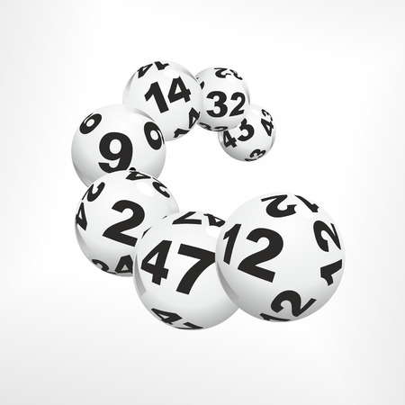 ball isolated: many lottery balls as good luck charms