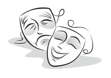 caretas teatro: ilustración de las máscaras del teatro, sonriendo y llorando Foto de archivo