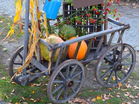 handcart: funny handcart decorated with pumpkin and flowers