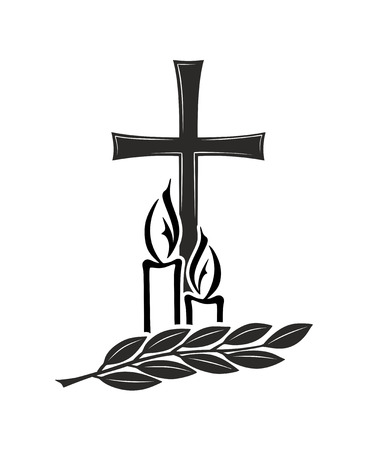 obituary: cross, candles and twig as an arrangement