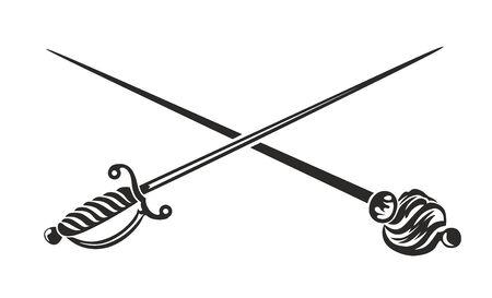 sabel: two crossed stabbing weapons, sword and saber Stockfoto