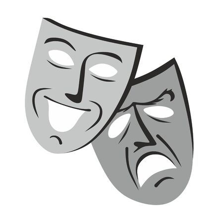 two masks, funny and sad, as metaphor for theater