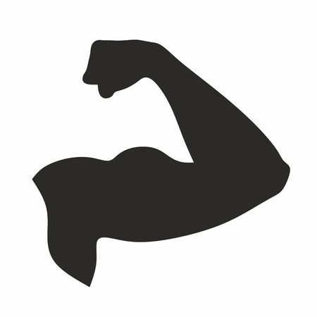 flexed: silhouette of strong arm with flexed biceps Stock Photo