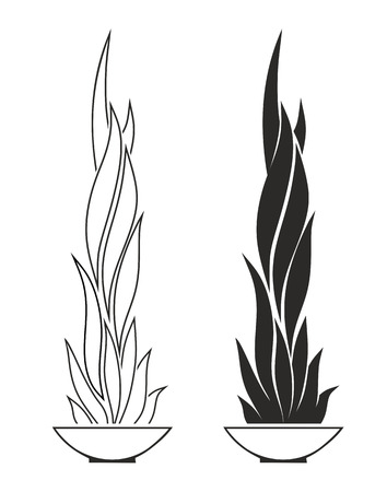 tumbas: receptáculo de fuego estilizada como decoración para tumbas