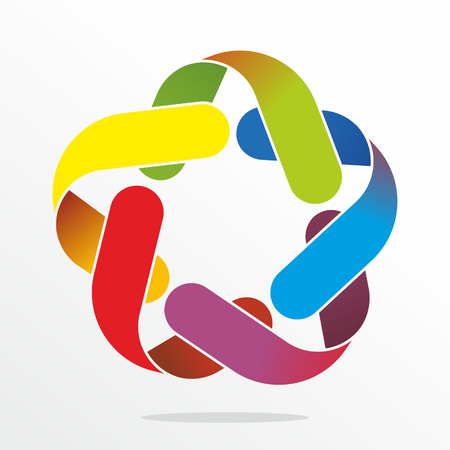 entwined: many colored, entwined bands as decorative sign