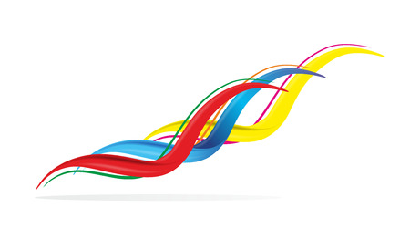 synchronous: three different but synchronous and colorful lines