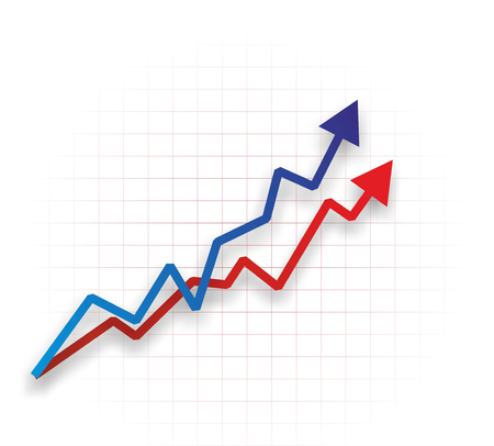 abstract chart with two different upward curves Stock Photo