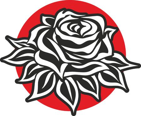 symbols  metaphors: simplified illustration of a rose for decoration